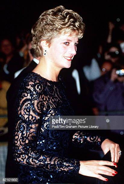 Diana Princess Of Wales Looking Tearful As She Arrives For A Gala Concert At The Equinox In Leicester Square On 1st November 1993 she Is Wearing A...