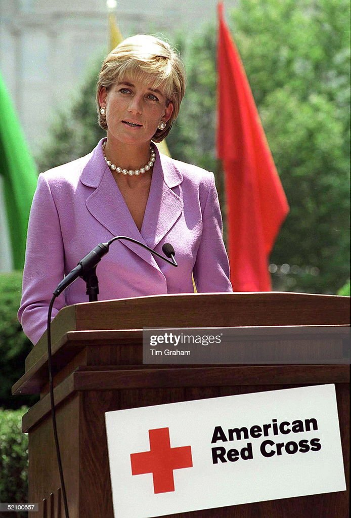 Diana, Princess Of Wales, Making An Anti-landmines Speech On Behalf Of The American Red Cross In Washington.