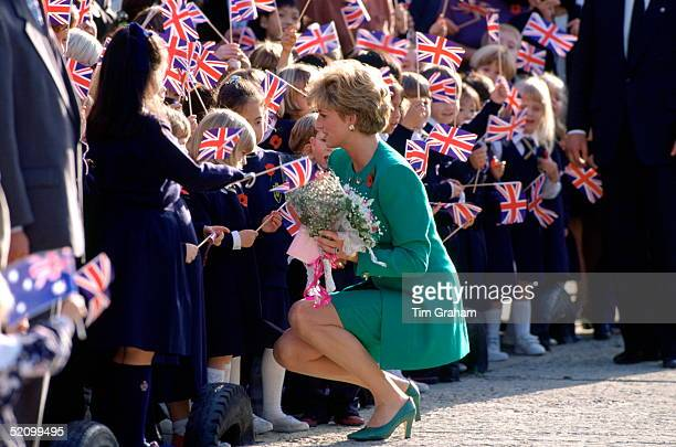 Diana Princess Of Wales Meeting Children At The British School During Her Official Tour Of Korea