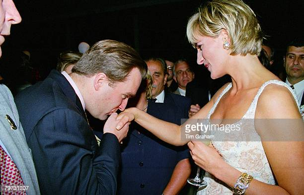 Diana Princess of Wales meeting guests at the preauction party at Christie's New York Her dress is by designer Catherine Walker