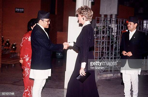 Diana Princess Of Wales Meeting King Birendra Of Nepal Crown Prince Dipendra In The Background