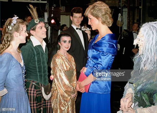 Diana Princess Of Wales Meeting Some Of The Cast After A Performance At Sadlers Wells Theatre She Is Wearing A Dress Designed By Fashion Designer...