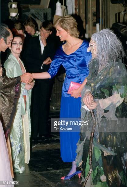 Diana, Princess Of Wales Meeting Some Of The Cast After A Performance At Sadlers Wells Theatre. She Is Wearing A Dress Designed By Fashion Designer...