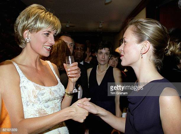 Diana Princess Of Wales Meeting Supermodel Kate Moss At The Preauction Party At Christies New York She Is Wearing A Dress By Fashion Designer...