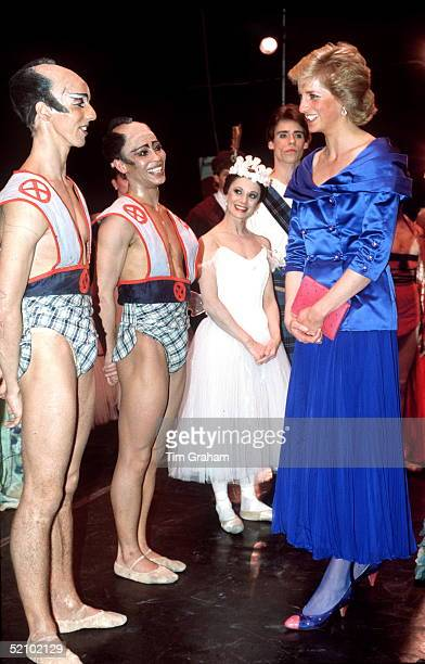 Diana Princess Of Wales Meeting The Cast Of The London City Ballet At Sadler's Wells Wearing A Blue Evening Suit With Satin Jacket And Pleated Ankle...