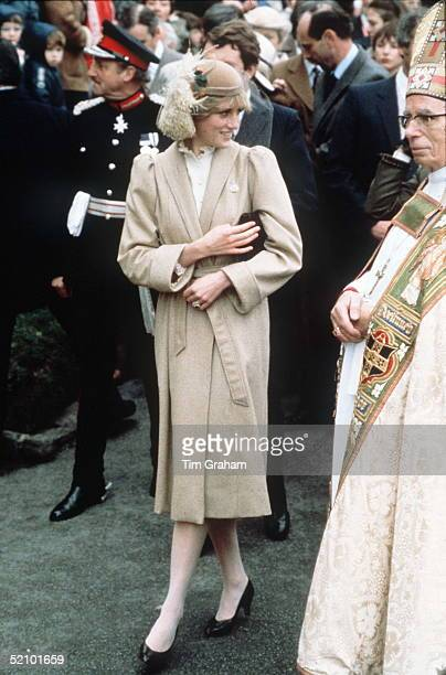 Diana, Princess Of Wales, Meeting The Crowds On A Wet Day In Carmarthen During Her First Official Visit To Wales.