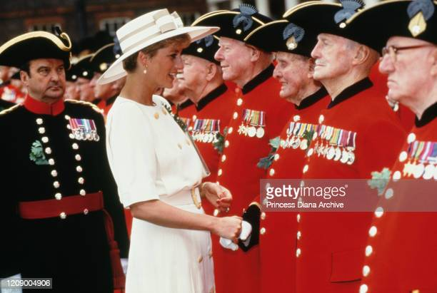 Diana Princess of Wales meets a group of Chelsea Pensionsers on Founder's Day at the Royal Hospital Chelsea London 4th June 1992