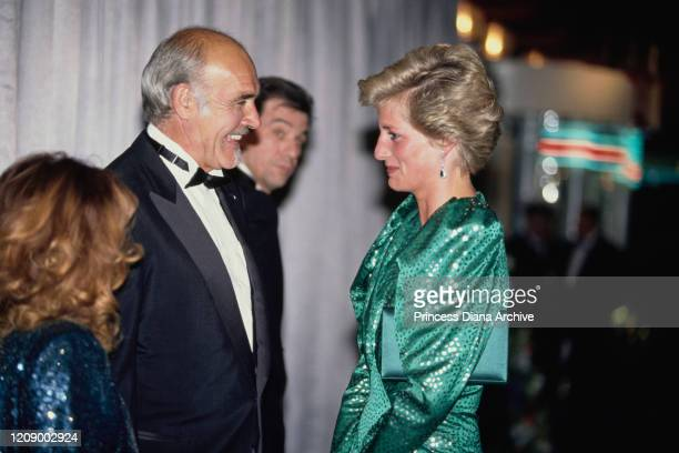 Diana Princess of Wales meets actor Sean Connery and his wife Micheline at the premiere of the film 'The Hunt For Red October' in London April 1990...