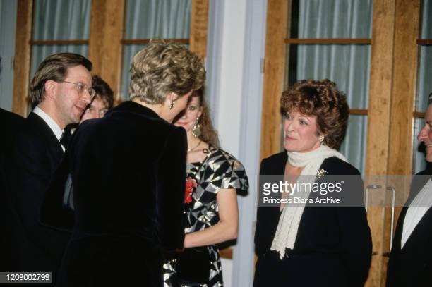 Diana Princess of Wales meets actress Janet Suzman at a gala premiere at BAFTA in London December 1990 Diana is wearing a gown by Victor Edelstein