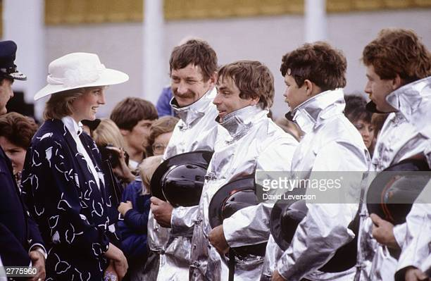 Diana Princess of Wales meets firemen during a visit to Manukau near Auckland New Zealand during the Royal Tour of New Zealand on April 19 1983...