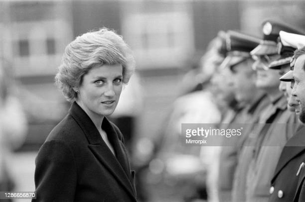 Diana, Princess of Wales meets members of the rescue team after the Piper Alpha oil rig disaster, which killed 167 people, 8th July 1988.