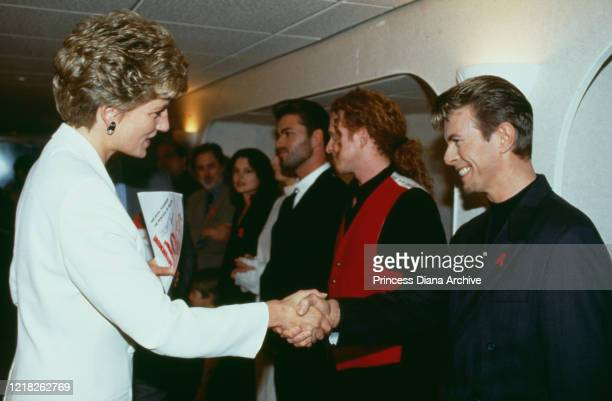 Diana, Princess of Wales meets singer David Bowie at Wembley Arena in London, for the Concert of Hope, a benefit concert on World AIDS Day, 2nd...