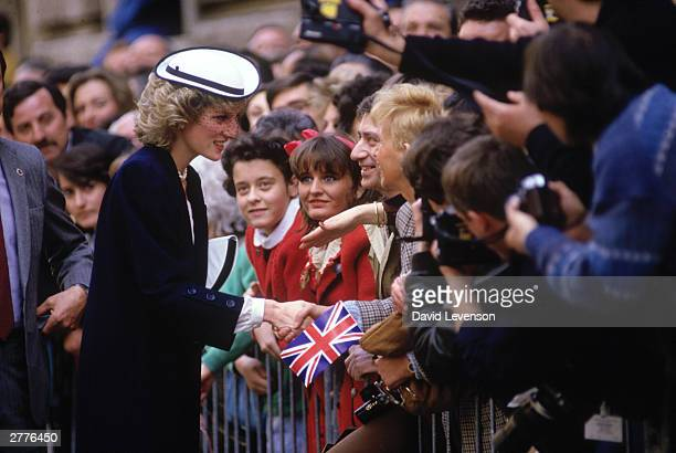 Diana Princess of Wales meets the crowd on April 21 1985 in Rome Italy during the Royal tour of Italy
