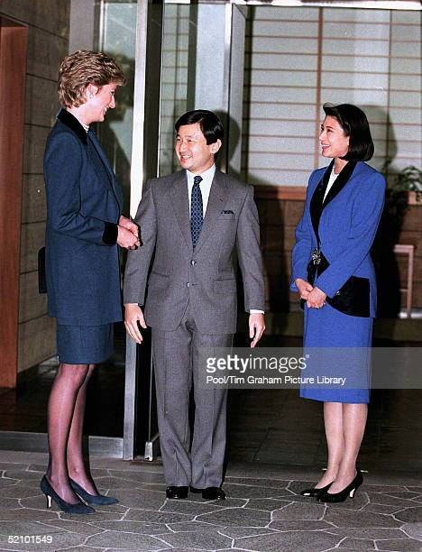 Diana Princess Of Wales Meets The Crown Prince Naruhito And Crown Princess Masako Of Japan