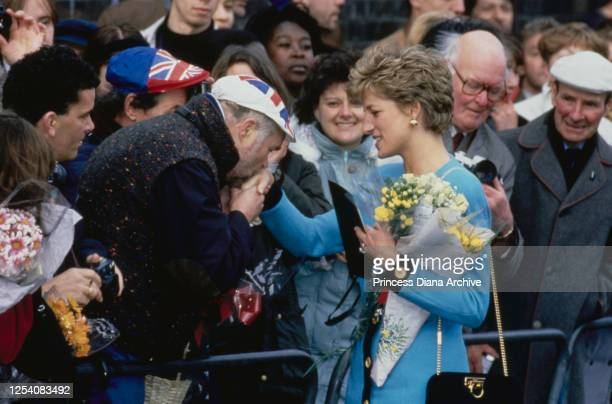 Diana Princess of Wales meets the public at Elephant and Castle in London 10th December 1993