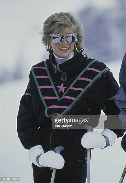 Diana Princess of Wales on a skiing holiday in Klosters Switzerland 9th March 1986