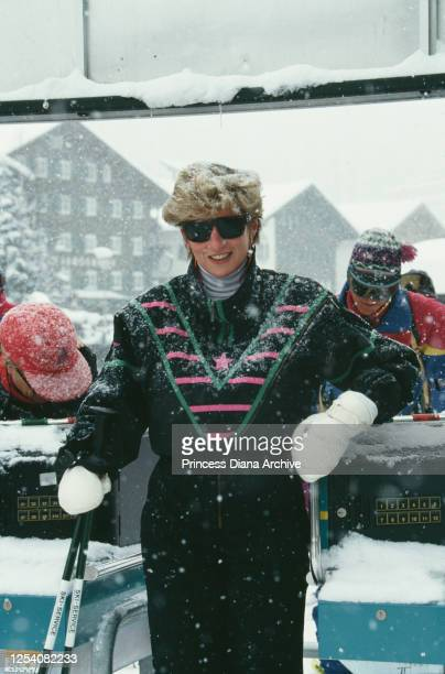 Diana, Princess of Wales on a skiing holiday in Lech, Austria, March 1993.