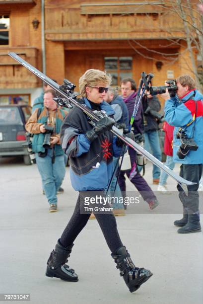 Diana Princess of Wales on a skiing holiday in Lech Austria