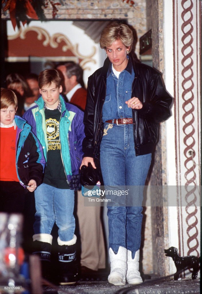 Diana Princess Of Wales On A Skiing Holiday In Lech, Austria With Prince William And Prince Harry.