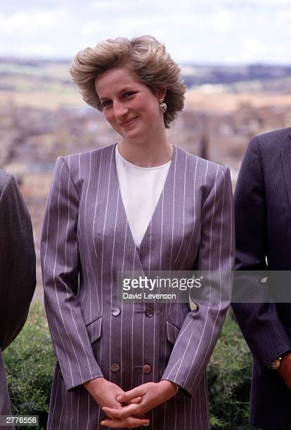 Diana Princess of Wales on a visit on April 23 1987 to Toledo Spain during the Royal Tour to Spain She wore an outfit designed by Catherine Walker