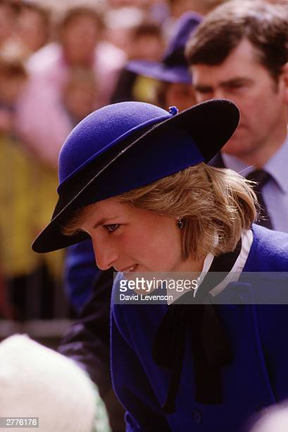 Diana Princess of Wales on a visit to Hereford Cathedral Hereford Herfordshire on April 9 1985 Her outfit was designed by Bellville Sassoon