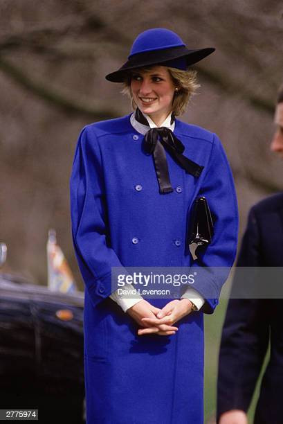 Diana Princess of Wales on a visit to Hereford Cathedral on April 9 1985 in Hereford Herfordshire Her outfit was designed by Bellville Sassoon