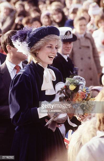 Diana Princess of Wales on a visit to the Wantage Adult Training Centre on December 2 1983 in Wantage Oxfordshire