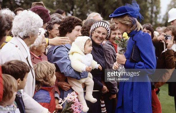 Diana Princess of Wales on a walkabout through Queen Elizabeth Park on April 22 1983 in Masterton near Wellington New Zealand during the Royal Tour...