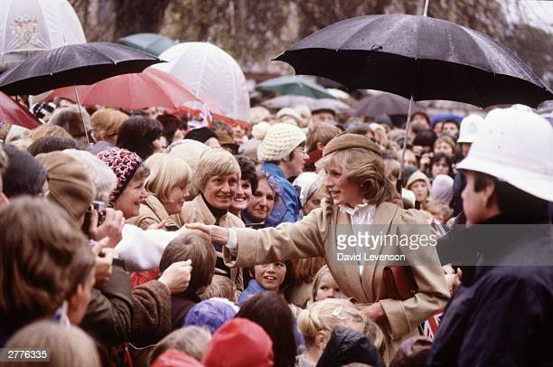 Diana Princess of Wales on a walkabout through the city centre on April 28 1983 in Christchurch New Zealand during the Royal Tour of New Zealand...