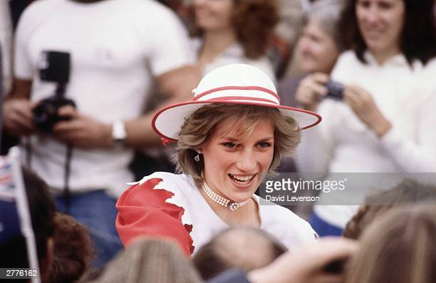 Diana Princess of Wales on a walkabout through the crowd on April 6 in Port Pirie Australia during the Royal Tour of Australia She wore an outfit by...