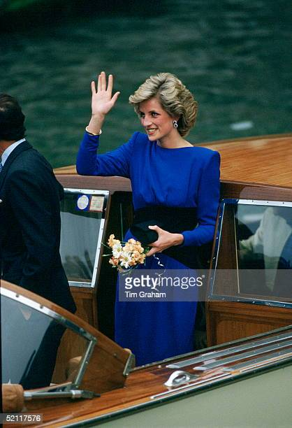 Diana Princess Of Wales On Board A Boat In Venice Italy Wearing A Dress Designed By Fashion Designer Bruce Oldfield During Her Visit To Venice 4th...
