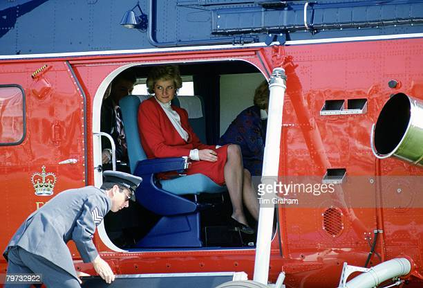 Diana Princess of Wales on board a royal helicopter in Colchester