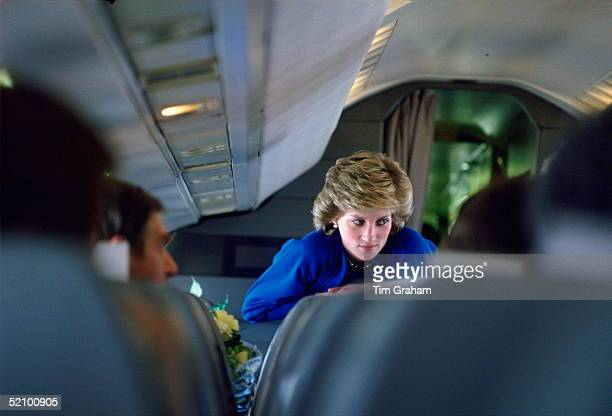Diana, Princess Of Wales, On Board Concorde During Her Return Journey From Vienna.