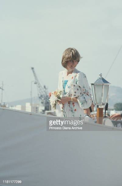 Diana Princess of Wales on board the Royal Yacht Britannia in Gibraltar at the start of her honeymoon cruise with Prince Charles August 1981 She is...