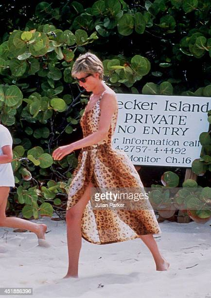 Diana Princess of Wales on Holiday In Necker Island In The Caribbean on April 11 in the British Virgin Islands