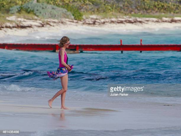 Diana Princess of Wales on holiday on Necker Island on January 9 1989 in Necker Island British Virgin Islands