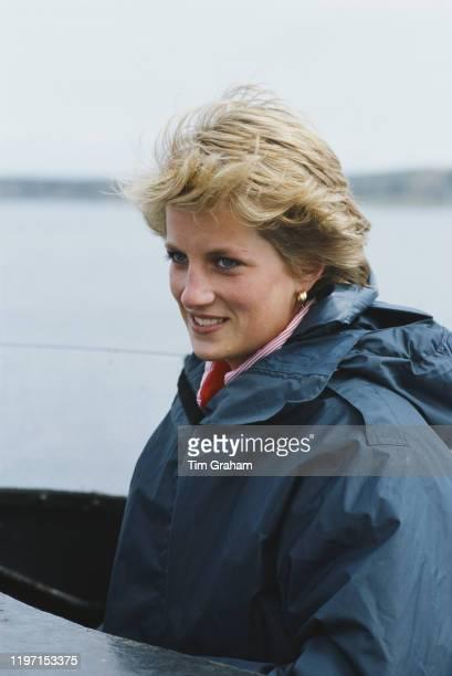 Diana, Princess of Wales on the Royal Navy nuclear submarine 'HMS Trafalgar', 22nd August 1986.