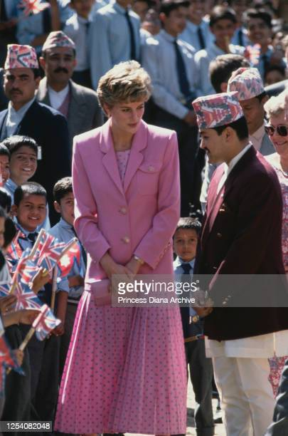 Diana Princess of Wales opens Hiunchuli House at the Budhanilkantha School in Kathmandu Nepal with Prince Dipendra of Nepal 4th March 1993