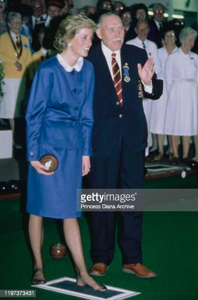 Diana, Princess of Wales opens the Luton Indoor Bowling Club in Luton, UK, 11th October 1988.