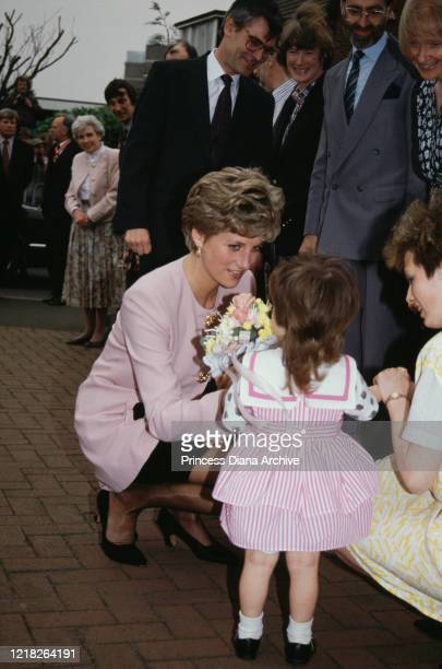 Diana Princess of Wales outside a Barnardo's family centre in Dudley in the West Midlands UK 15th March 1992