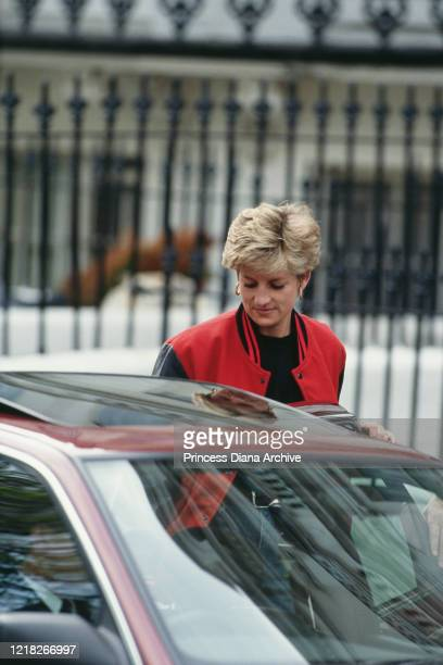 Diana, Princess of Wales outside Wetherby School in London, April 1992.