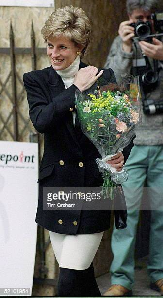 "Diana, Princess Of Wales, Patron Of The Charity ""centrepoint"", Leaving Their New Hostel For The Homeless In Leicester Square, London. The Princess Is..."