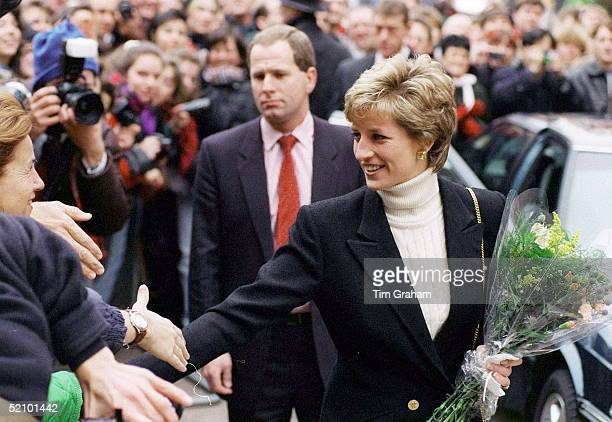 """Diana, Princess Of Wales, Patron Of The Charity """"centrepoint"""", Shaking Hands With Members Of The Crowd Outside T Centrepoint's New Hostel For The..."""