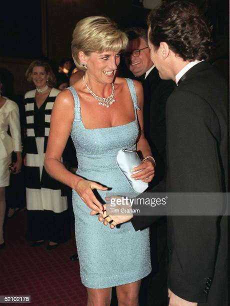 Diana Princess Of Wales Patron Of The English National Ballet Shaking Hands With Artistic Director Derek Deane Whilst Attending The Royal Gala...