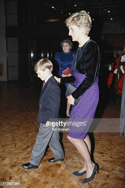 Diana Princess Of Wales patron of the London Symphony Orchestra attending a Christmas music concert with her son Prince William at the Barbican...