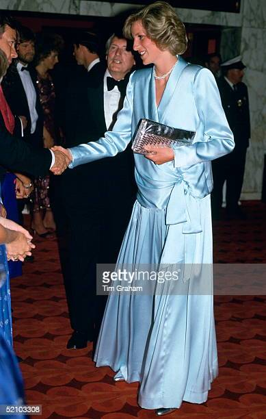 Diana, Princess Of Wales, Pregnant With Her Second Son, Prince Harry, Attending The Film Premiere Of 'Indiana Jones And The Temple of Doom' In...