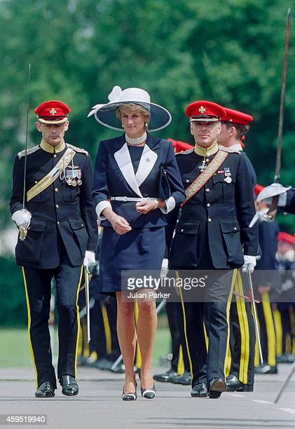 Diana, Princess of Wales presents new colours to the Light Dragoon Guards Regiment, in Bergen-Hohne. On July 22 1995, in Bergen-Hohne, Germany.
