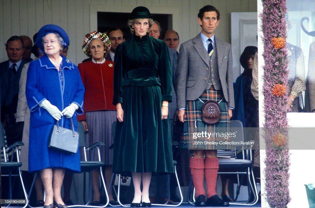 Diana, Princess of Wales,Prince Charles, Prince of Wales,Queen Elizabeth The Queen Mother ,At the annual Braemar Highland Games in Scotland, 3rd September 1983. : News Photo