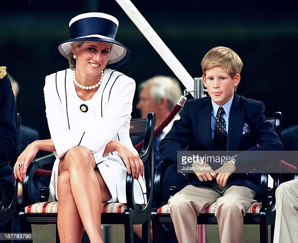 Diana Princess Of Wales & Prince Harry Attend The Vj Day 50Th Anniversary Celebrations In London.