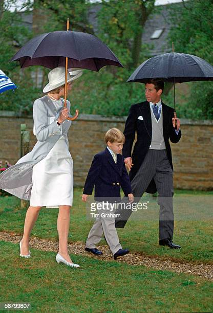 Diana Princess of Wales Prince William and Prince Charles at her brother's wedding at Althorp The Princess is wearing suit designed by Catherine...